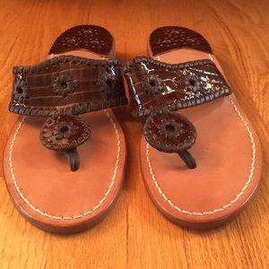 Jack Rogers brown croc leather flat sandal. Size 9